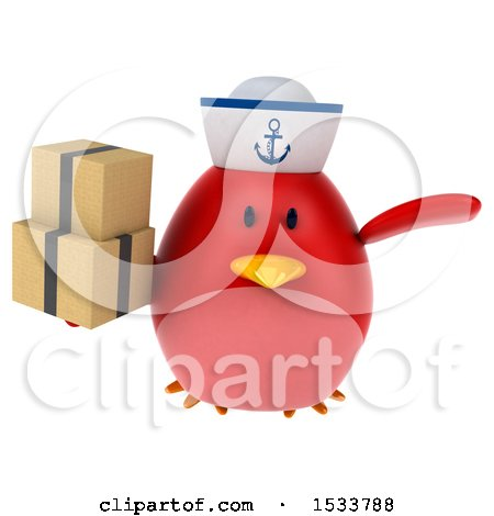 Clipart of a 3d Red Bird Sailor Holding Boxes, on a White Background - Royalty Free Illustration by Julos