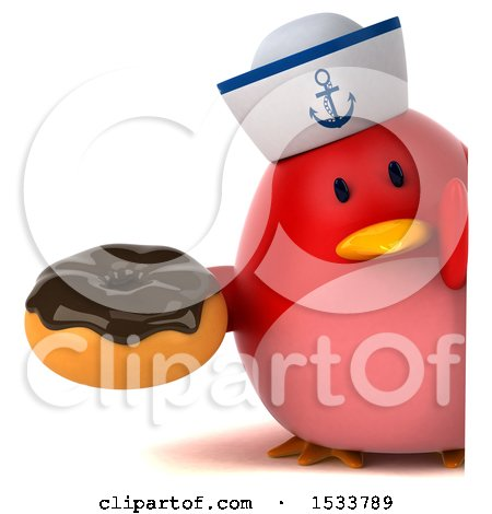 Clipart of a 3d Red Bird Sailor Holding a Donut, on a White Background - Royalty Free Illustration by Julos