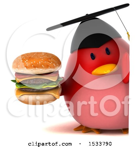 Clipart of a 3d Red Bird Graduate Holding a Burger, on a White Background - Royalty Free Illustration by Julos