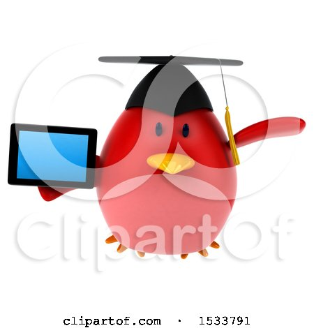Clipart of a 3d Red Bird Graduate Holding a Tablet, on a White Background - Royalty Free Illustration by Julos