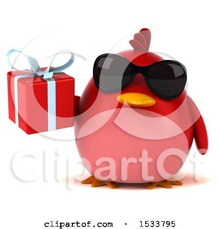 Clipart of a 3d Red Bird Holding a Gift, on a White Background - Royalty Free Illustration by Julos