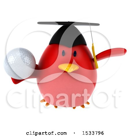 Clipart of a 3d Red Bird Graduate Holding a Golf Ball, on a White Background - Royalty Free Illustration by Julos