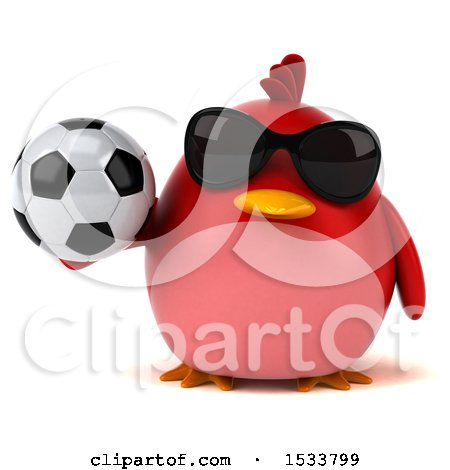 Clipart of a 3d Red Bird Holding a Soccer Ball, on a White Background - Royalty Free Illustration by Julos