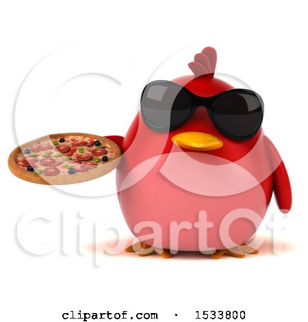 Clipart of a 3d Red Bird Holding a Pizza, on a White Background - Royalty Free Illustration by Julos