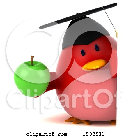 Clipart of a 3d Red Bird Graduate Holding an Apple, on a White Background - Royalty Free Illustration by Julos