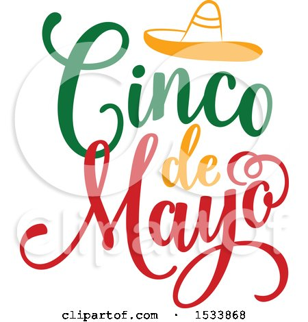 Clipart of a Cindo De Mayo Design with a Sombrero - Royalty Free Vector Illustration by Vector Tradition SM