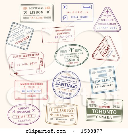 Clipart of Passport Stamp Designs - Royalty Free Vector Illustration by Vector Tradition SM