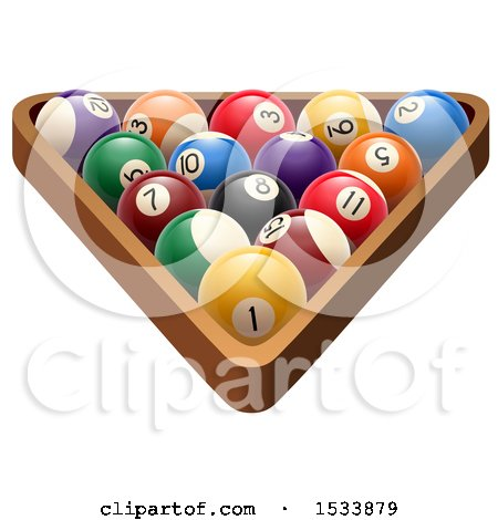 Clipart of 3d Racked Billiards Pool Balls - Royalty Free Vector Illustration by Vector Tradition SM