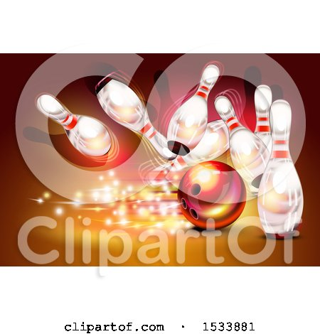 Clipart of a Bowling Ball Crashing into White Pins on a Red Background - Royalty Free Vector Illustration by Oligo
