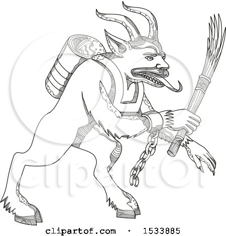 Clipart of a Krampus Demon, in Black and White Zentangle Design - Royalty Free Vector Illustration by patrimonio