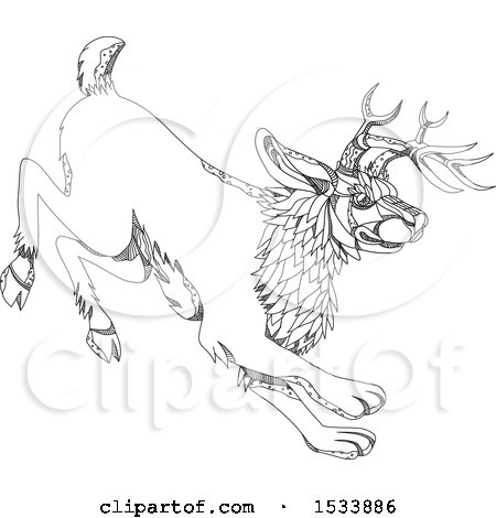 Clipart of a Running Jackalope, in Black and White Zentangle Design - Royalty Free Vector Illustration by patrimonio