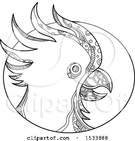 Clipart of a Cockatoo Parrot Head in Profile in an Oval, in Black and White Zentangle Design - Royalty Free Vector Illustration by patrimonio