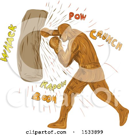 Clipart of a Sketched Boxer Hitting a Punching Bag, with Sound Words - Royalty Free Vector Illustration by patrimonio