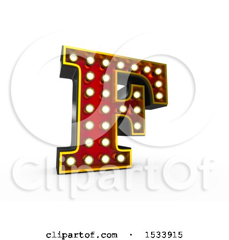 Clipart of a 3d Illuminated Theater Styled Vintage Letter F, on a White Background - Royalty Free Illustration by stockillustrations
