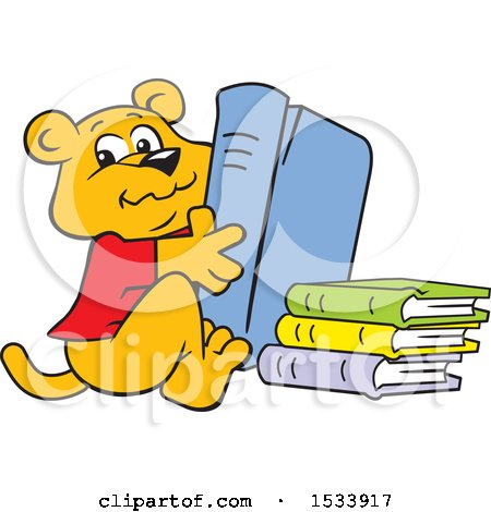Clipart of a Panther Cub Mascot with Library Books - Royalty Free Vector Illustration by Johnny Sajem