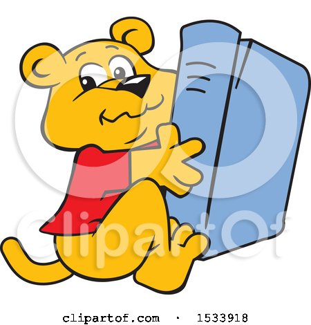 Clipart of a Panther Cub Mascot Hugging a Book - Royalty Free Vector Illustration by Johnny Sajem