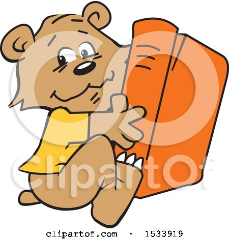 Clipart of a Cute Bear Cub Hugging a Book - Royalty Free Vector Illustration by Johnny Sajem