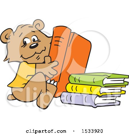 Clipart of a Cute Bear Cub with Library Books - Royalty Free Vector Illustration by Johnny Sajem
