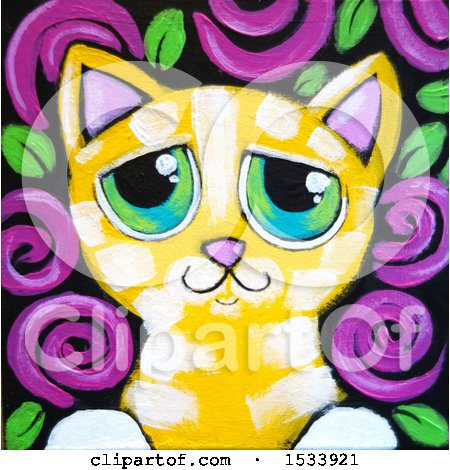 Clipart of a Painting of a Yellow Tabby Kitty Cat with Purple Flowers - Royalty Free Illustration by Maria Bell