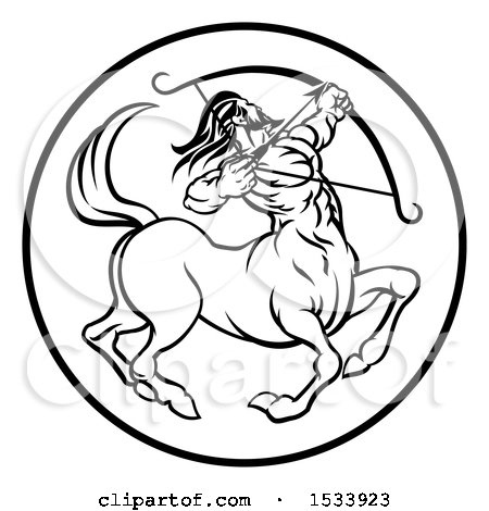 Clipart of a Zodiac Horoscope Astrology Centaur Sagittarius Circle Design in Black and White - Royalty Free Vector Illustration by AtStockIllustration