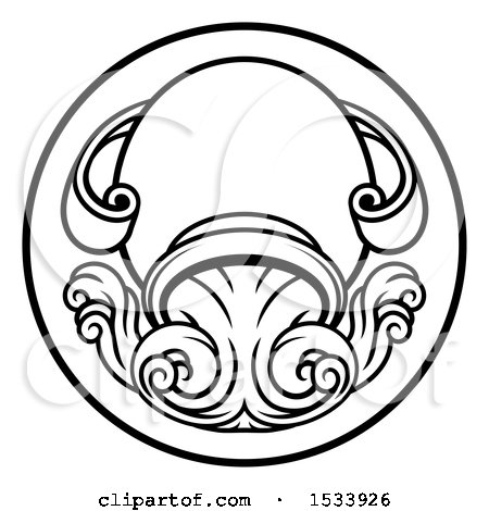 Clipart of a Black and White Zodiac Horoscope Astrology Aquarius Circle Design - Royalty Free Vector Illustration by AtStockIllustration