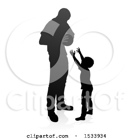 Clipart of a Silhouetted Father Playing Basketball with His Son, with a Shadow on a White Background - Royalty Free Vector Illustration by AtStockIllustration