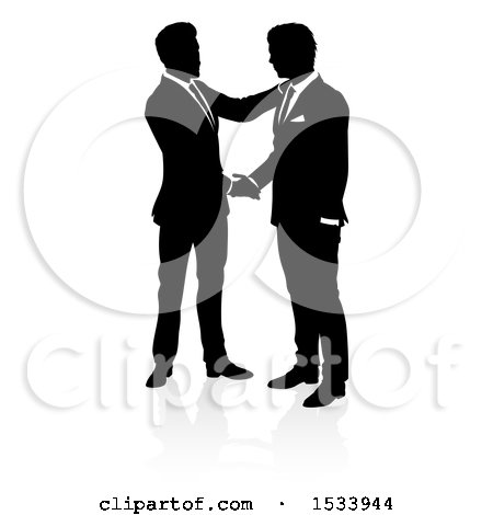 Silhouetted Business Men Shaking Hands, with a Shadow on a White Background Posters, Art Prints