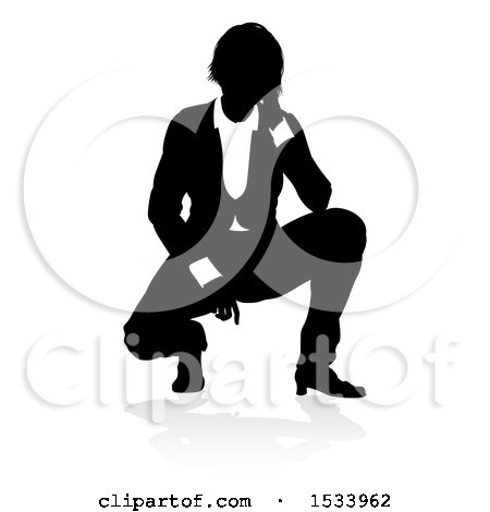Clipart of a Silhouetted Business Woman Crouching, with a Shadow on a White Background - Royalty Free Vector Illustration by AtStockIllustration
