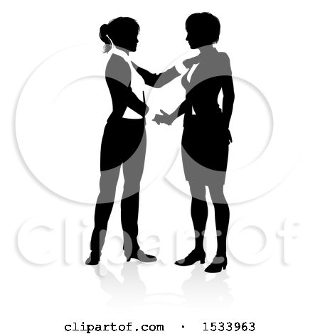 Silhouetted Business Women Shaking Hands, with a Shadow on a White Background Posters, Art Prints