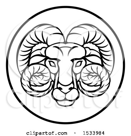 Clipart of a Black and White Zodiac Horoscope Astrology Aries Ram Circle Design - Royalty Free Vector Illustration by AtStockIllustration