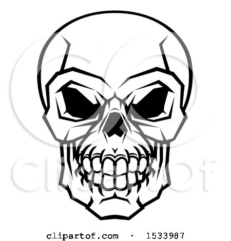 Clipart of a Black and White Human Skull - Royalty Free Vector Illustration by AtStockIllustration