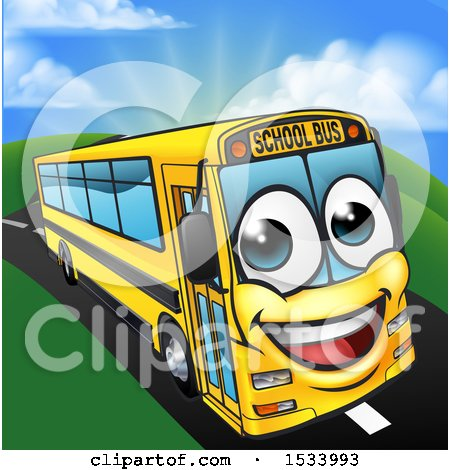 Clipart of a Happy Yellow School Bus Character on a Road - Royalty Free Vector Illustration by AtStockIllustration