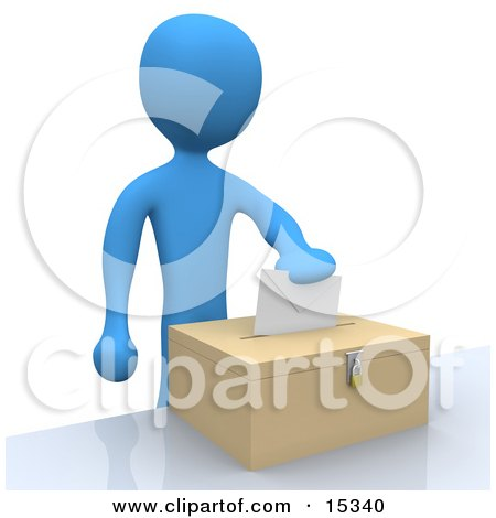 Blue Person Putting Their Voting Envelope In A Ballot Box During A Presidential Election  Posters, Art Prints