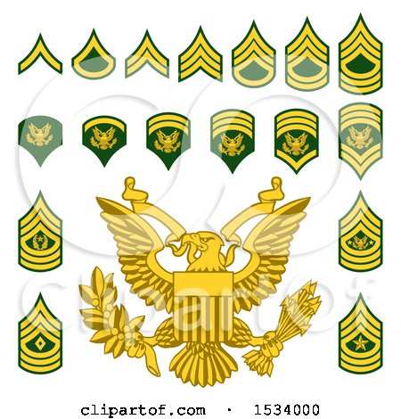 Clipart of Military American Enlisted Rank Badges - Royalty Free Vector Illustration by AtStockIllustration