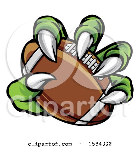 Clipart of a Green Monster Claw Holding an American Football - Royalty Free Vector Illustration by AtStockIllustration