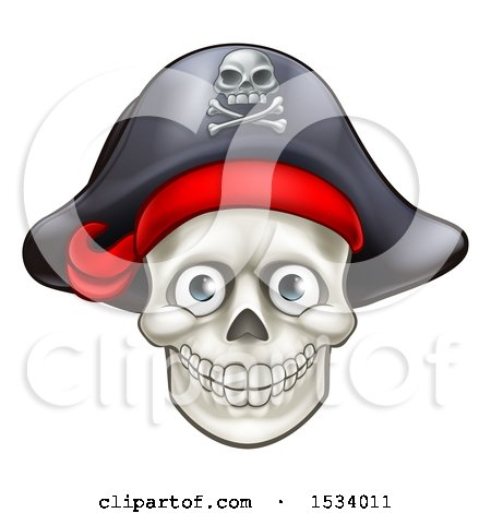 Clipart of a Pirate Skull Wearing a Hat - Royalty Free Vector Illustration by AtStockIllustration