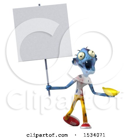 Clipart of a 3d Blue Zombie Holding a Banana, on a White Background - Royalty Free Illustration by Julos