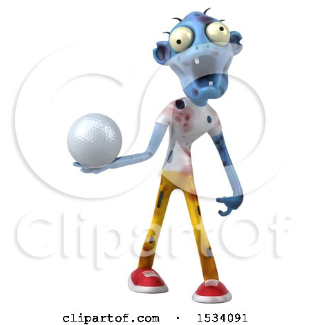 Clipart of a 3d Blue Zombie Holding a Golf Ball, on a White Background - Royalty Free Illustration by Julos