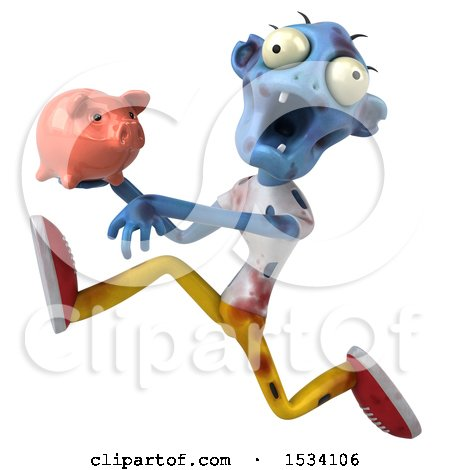 Clipart of a 3d Blue Zombie Holding a Piggy Bank, on a White Background - Royalty Free Illustration by Julos