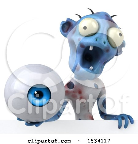 Clipart of a 3d Blue Zombie Holding an Eyeball, on a White Background - Royalty Free Illustration by Julos