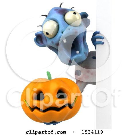 Clipart of a 3d Blue Zombie Holding a Halloween Pumpkin, on a White Background - Royalty Free Illustration by Julos