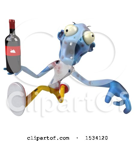 Clipart of a 3d Blue Zombie Holding Wine, on a White Background - Royalty Free Illustration by Julos
