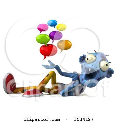 Clipart of a 3d Blue Zombie Holding Messages, on a White Background - Royalty Free Illustration by Julos