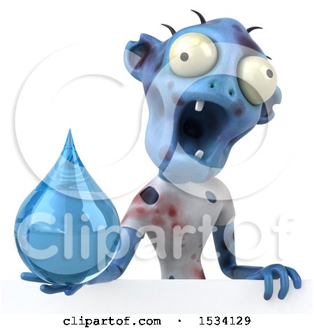 Clipart of a 3d Blue Zombie Holding a Water Drop, on a White Background - Royalty Free Illustration by Julos