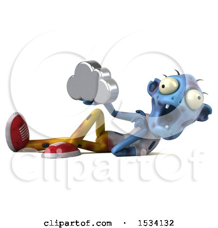 Clipart of a 3d Blue Zombie Holding a Cloud, on a White Background - Royalty Free Illustration by Julos