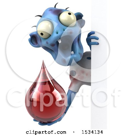 Clipart of a 3d Blue Zombie Holding a Blood Drop, on a White Background - Royalty Free Illustration by Julos