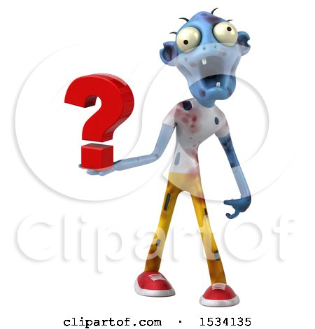 Clipart of a 3d Blue Zombie Holding a Question Mark, on a White Background - Royalty Free Illustration by Julos