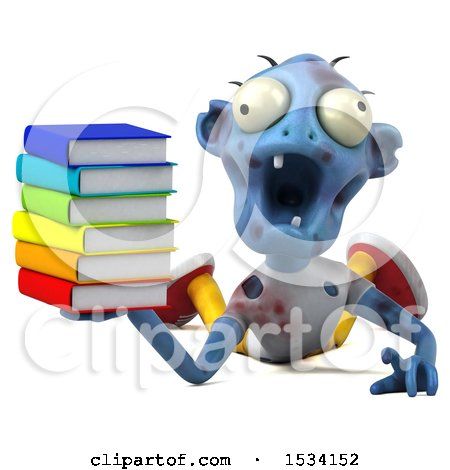 Clipart of a 3d Blue Zombie Holding Books, on a White Background - Royalty Free Illustration by Julos