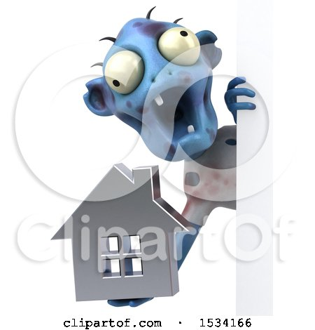 Clipart of a 3d Blue Zombie Holding a House, on a White Background - Royalty Free Illustration by Julos