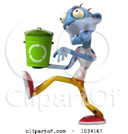 Clipart of a 3d Blue Zombie Holding a Recycle Bin, on a White Background - Royalty Free Illustration by Julos